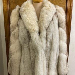 Saga Fox Anthonys Silver Fox Fur Coat Medium Large